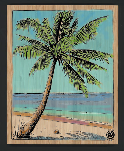 Coconut Palm on Bamboo Panel